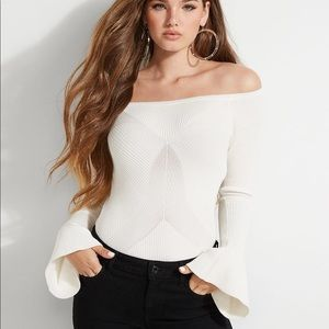 NEW ⭐️ Guess Caylee Ribbed Bell-Sleeve Sweater